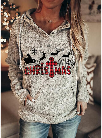Animal Print Grid Pockets Letter Long Sleeves Christmas Sweatshirt