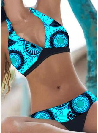 Tropical Print Halter V-Neck Casual Bikinis Swimsuits