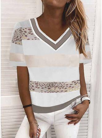 Color Block Leopard Print V-Neck Short Sleeves T-shirts