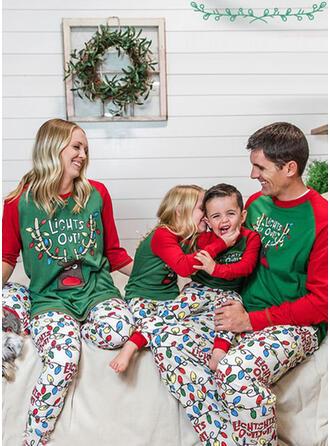 Reindeer Color Block Letter Print Family Matching Christmas Pajamas