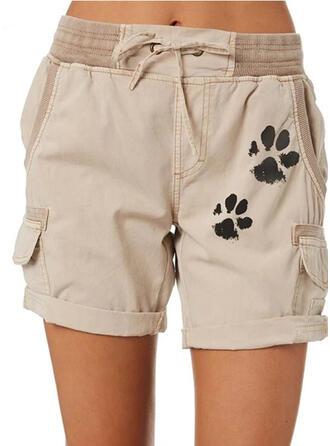 Animal Print Plus Size Drawstring Above Knee Casual Plain Shorts