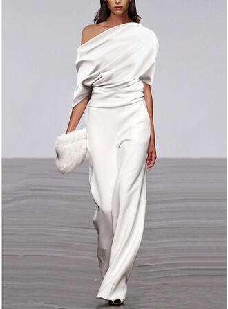 Solid One Shoulder 1/2 Sleeves Casual Jumpsuit