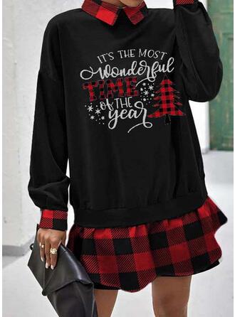 Print/Plaid Long Sleeves Shift Above Knee Christmas/Casual Sweatshirt Dresses