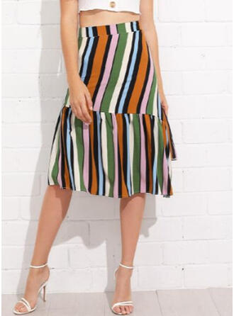 Polyester Striped Mid-Calf A-Line Skirts