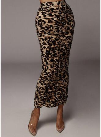 Polyester Print Mid-Calf Bodycon Skirts