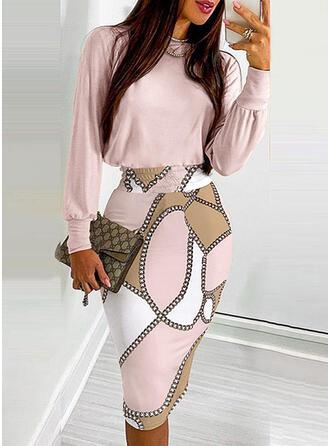 Print Long Sleeves Lantern Sleeve Bodycon Knee Length Casual Pencil Dresses