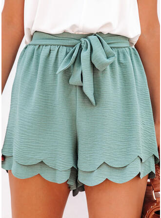 Solid Above Knee Casual Bowknot Shorts