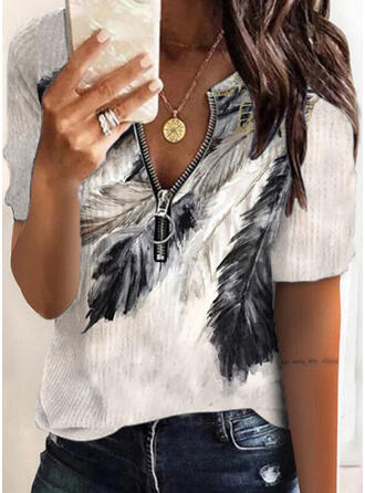 Print Feather Knit V-Neck Short Sleeves Casual Blouses