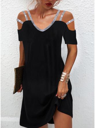 Solid Sequins Short Sleeves Cold Shoulder Sleeve Shift Above Knee Little Black/Elegant Tunic Dresses