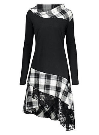Lace/Plaid Long Sleeves A-line Asymmetrical Casual Dresses