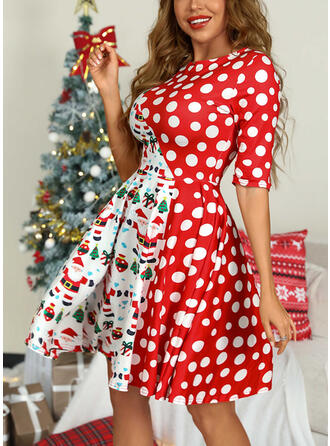 Print/PolkaDot 1/2 Sleeves A-line Above Knee Christmas/Party Skater Dresses
