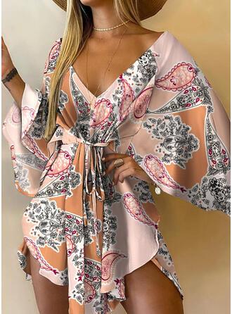 Print 3/4 Sleeves A-line Above Knee Boho Dresses
