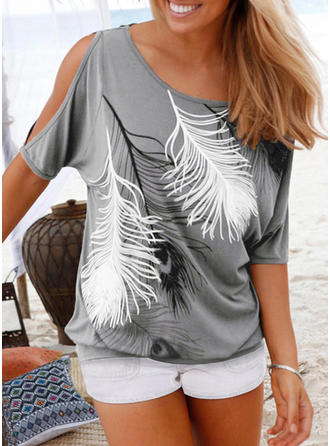 Print Cold Shoulder 1/2 Sleeves Casual Knit Blouses