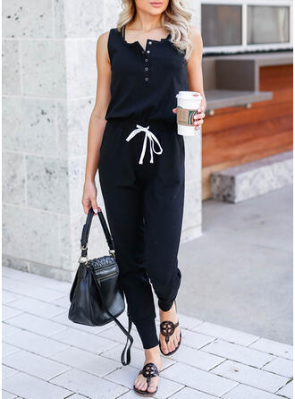 Solid Round Neck Sleeveless Casual Office/Business Jumpsuit