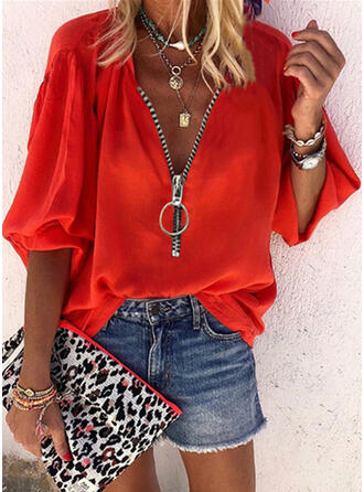 Solid V-Neck 1/2 Sleeves Casual Blouses