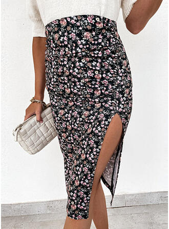 Cotton Blends Print Floral Asymmetrical High-Slit Skirts