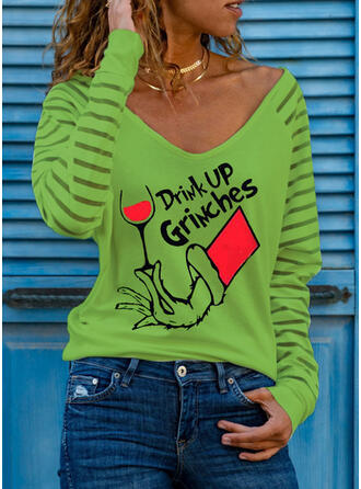 Print Figure V-Neck Long Sleeves Casual Christmas Blouses