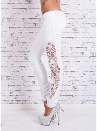 Lace Patchwork Plus Size Elegant Sexy Denim & Jeans