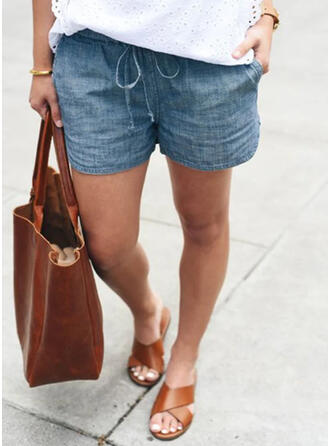 Solid Plus Size Drawstring Casual Vintage Shorts Denim & Jeans