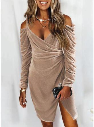 Solid Velvet Long Sleeves Cold Shoulder Sleeve Hourglass Above Knee Elegant Wrap Dresses