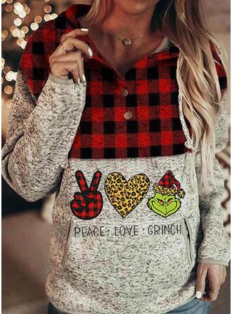 Print Grid Leopard Long Sleeves Christmas Sweatshirt