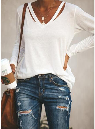 V-Neck Long Sleeves Casual Blouses