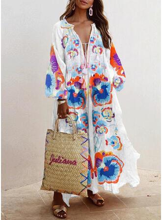 Print/Floral Long Sleeves Shift Vacation Maxi Dresses