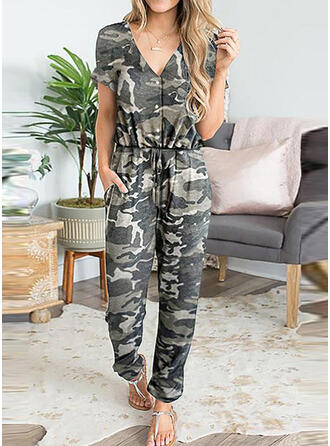 Pockets Shirred Camouflage Leopard Long Casual Sexy Jumpsuits & Rompers