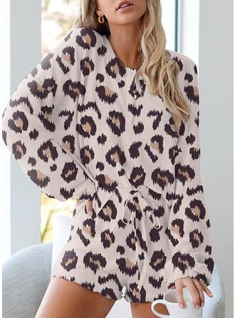 Polyester PolkaDot Long Sleeves V Neck Animal Print Pyjama Set