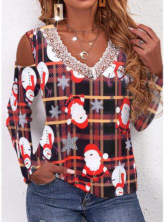 Christmas Plaid Santa Snowflake V-Neck Long Sleeves T-shirts