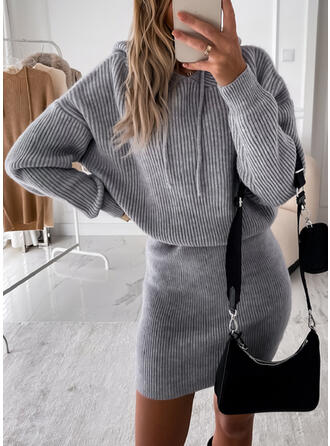 Solid Hooded Casual Sweater Dress