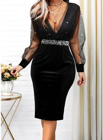 Solid Long Sleeves Puff Sleeve Cocoon Knee Length Elegant Dresses