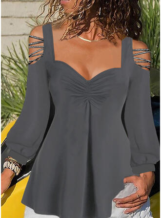 Solid Cold Shoulder Lantern Sleeve Long Sleeves Casual Blouses