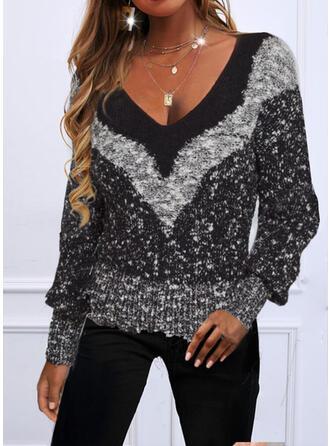 Geometric V-Neck Sweaters