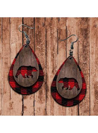 Layered Drop Shape Bear Design Christmas PU Women's Earrings 2 PCS