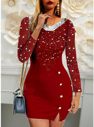 Christmas Star Sequins/Knit Long Sleeves Casual Dresses