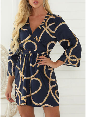 Print Long Sleeves Sheath Above Knee Casual/Elegant Dresses