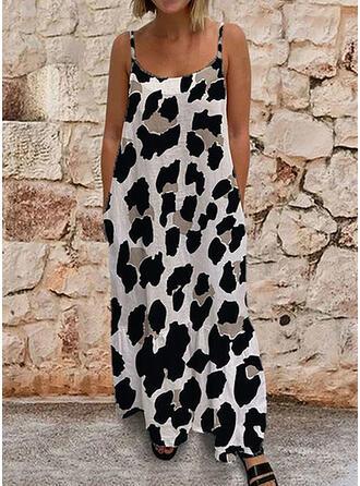 Leopard Sleeveless Shift Sexy/Casual Maxi Dresses