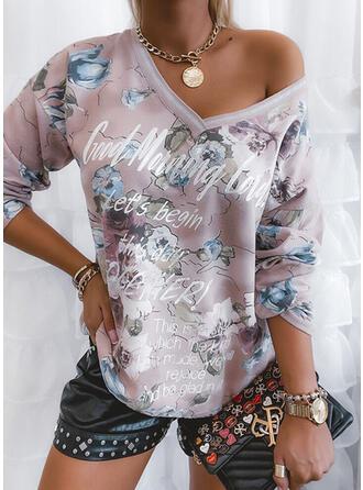 Floral Cold Shoulder Long Sleeves Sweatshirt