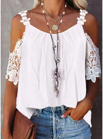 Solid Lace Cold Shoulder 1/2 Sleeves Elegant Blouses