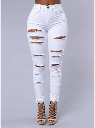 Shirred Ripped Long Sexy Plain Denim & Jeans