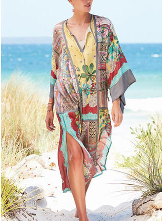 Floral Splice color V-Neck Bohemian Plus Size Colorful Cover-ups Swimsuits