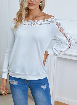 Solid Lace Off the Shoulder Long Sleeves Sweatshirt