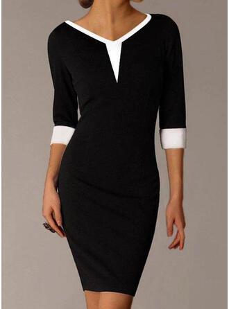 Color Block 3/4 Sleeves Bodycon Above Knee Elegant Dresses