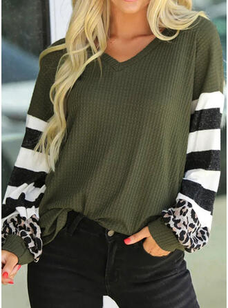 Striped Leopard V-Neck Long Sleeves Casual Knit Blouses