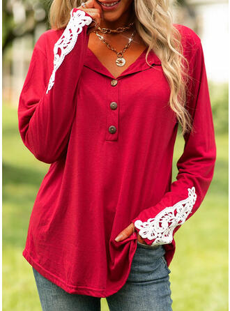 Patchwork Lapel Long Sleeves T-shirts