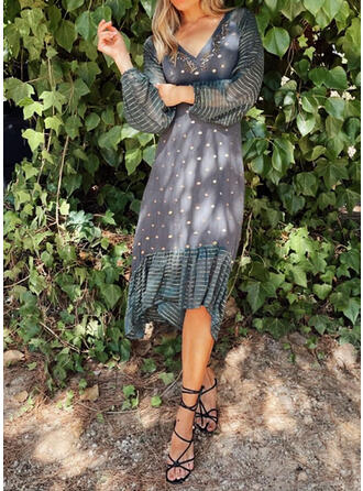 PolkaDot/Striped Long Sleeves A-line Casual Maxi Dresses