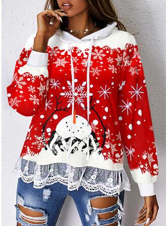 Christmas Snowflake Cartoon Hooded Long Sleeves Sweatshirt