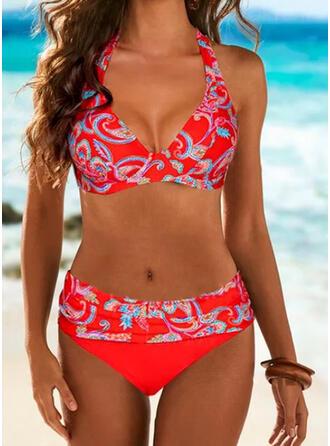 Print Halter V-Neck Sexy Colorful Bikinis Swimsuits