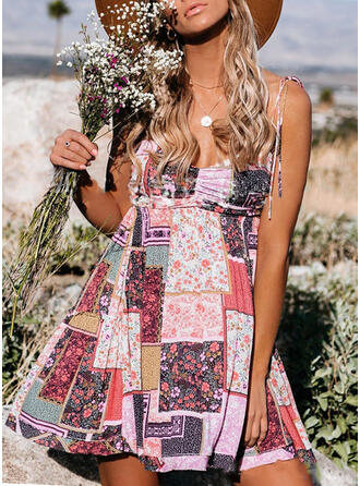 Print/Patchwork Sleeveless A-line Above Knee Casual/Boho/Vacation Slip Dresses